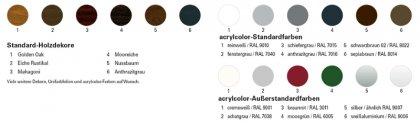 Acrylcolor und Standarddekore für Kunststoff-Fenster und Produkte